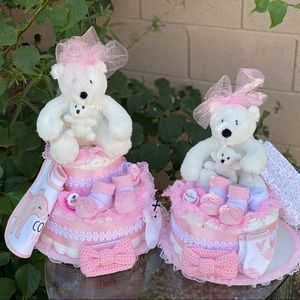 Diaper Cake for Twins. Baby Shower Gift. Set of 2.
